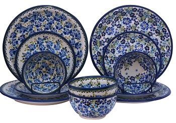 True Blue Polish Pottery 12 PC Dinnerware Set