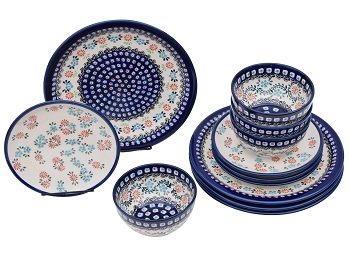 Heritage Combo Polish Pottery 12 Piece Dinnerware Set