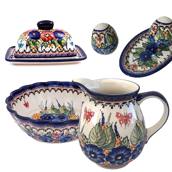 Butterfly Merry Making and Strawberry Butterfly  Polish Pottery 4 Piece Essentials Set