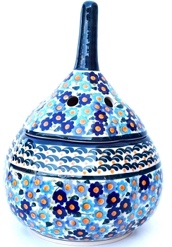 Polish Pottery Forget-Me-Not Garlic Stoneware Container