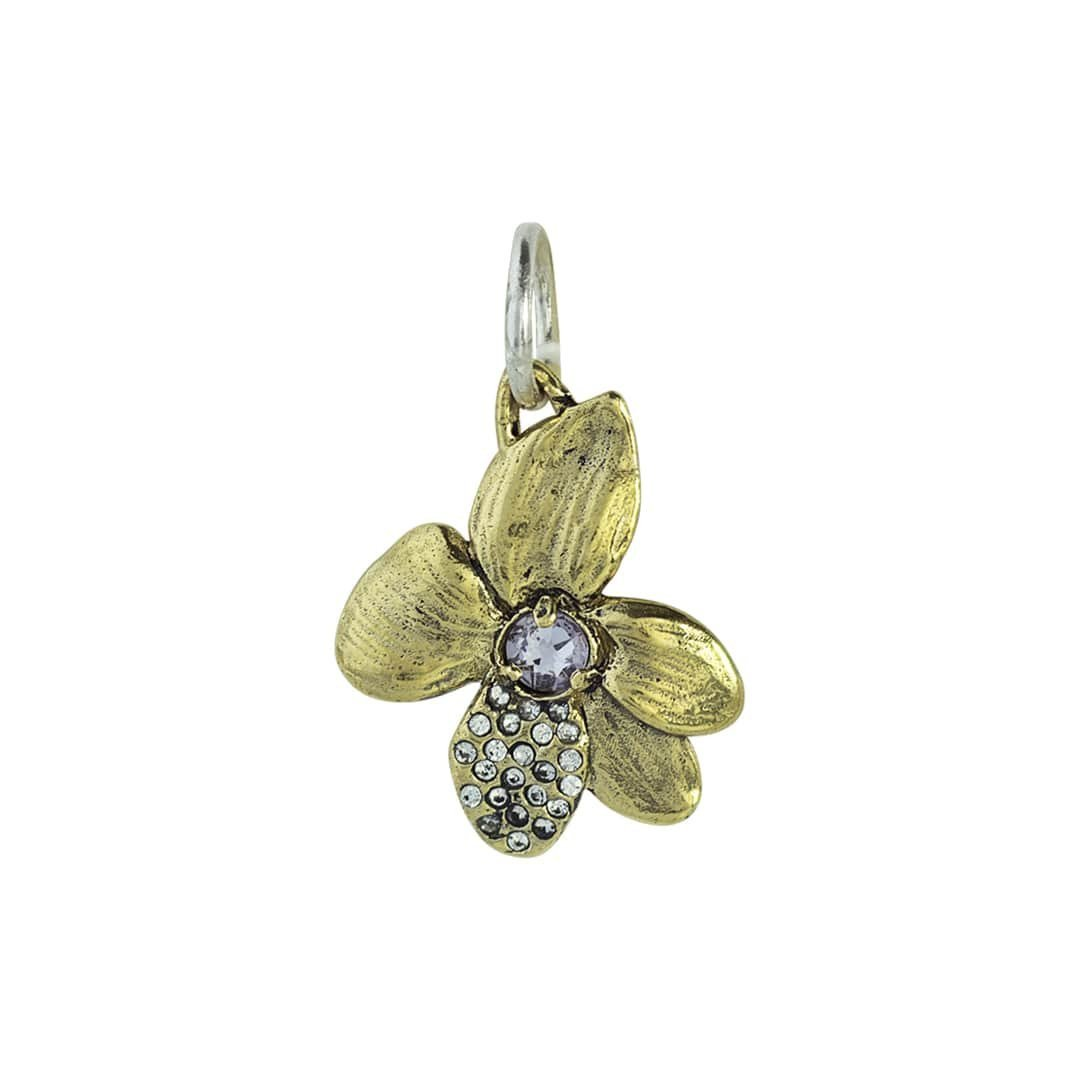 Little Goes Far Violet Dignity Charm - Brass