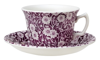 Mulberry Calico Teacup  and  Saucer