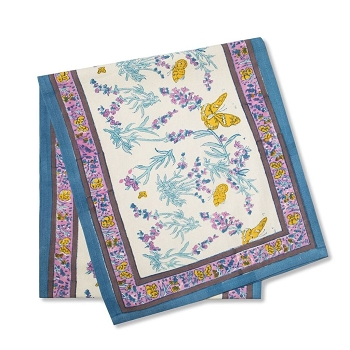 Papillon Blue French Table Runner