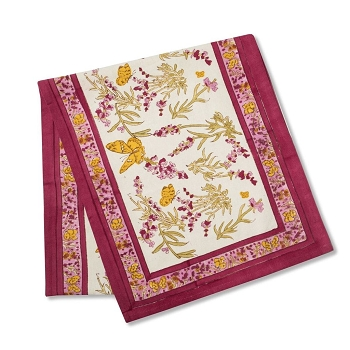 Papillon Rose French Table Runner