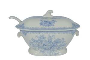 Blue Asiatic Pheasant Soup Tureen and Ladle