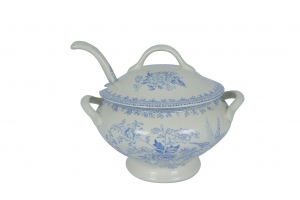 Blue Asiatic Pheasant Sauce Tureen and Ladle Covered-on back order