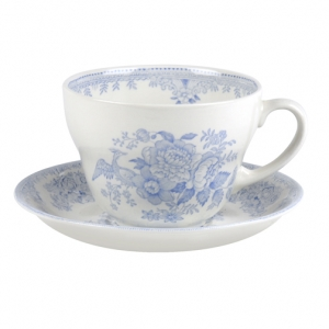 Blue Asiatic Pheasant Breakfast Cup and Saucer-on backorder 8-10 weeks