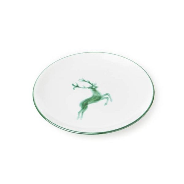 Green Deer (Stag) Coupe Dessert Plate 7.9