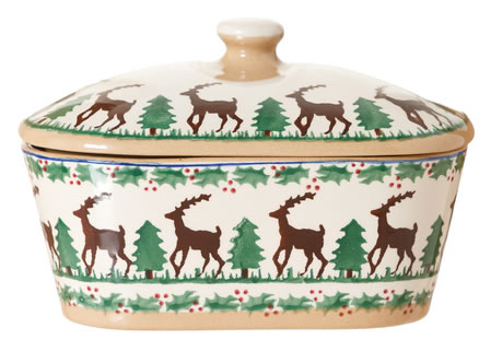 Reindeer Covered Butterdish