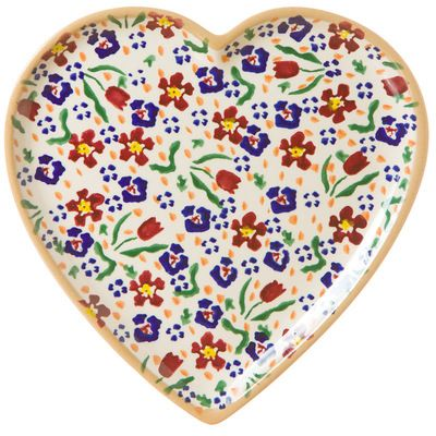 Wild Flower Meadow Med Heart Plate