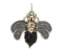Bee Brave Black Pendant SS/BR/Resin