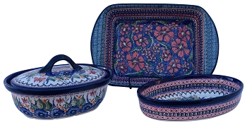 Polish Pottery 3 PC RED COMBO Designer Baker Kit