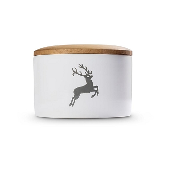 Grey Deer Storage Jar with Wooden Lid  -1 available