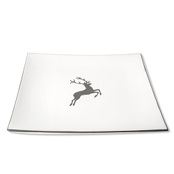 Grey Deer Square Serving Plate