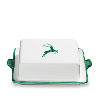 Green Deer Butter Dish Large