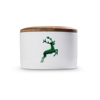 Green Deer Storage Jar with Wooden Lid -2 available