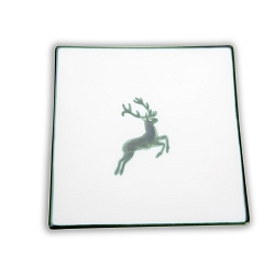 Green Deer, Square Side Plate 7.9 inch