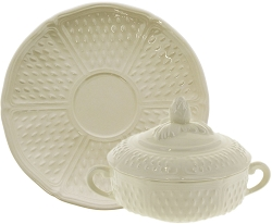 Gien Pont Aux Choux Covered Bouillon Cups & Saucers Set/2  Cream