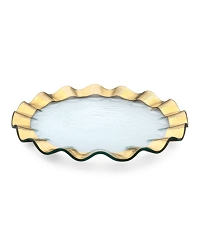 Annie Glass Gold Ruffle Dessert Plate-11 available