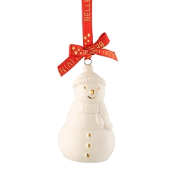 Belleek Living Mini Snowman Ornament in Tin