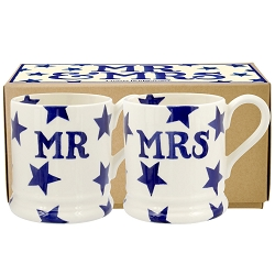 Blue Star Mr & Mrs Set of 2 1/2 Pint Mugs Boxed UPDATED