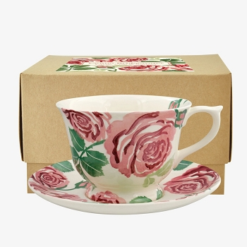 Pink Roses Large Teacup and Saucer Boxed