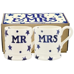 Starry Skies Mr and Mrs set/2 1/2 Pint Mugs