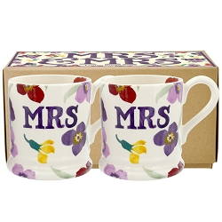 Wallflower Mr & Mrs Set of 2 1/2pt Mugs Boxed - Retired - 1 Available