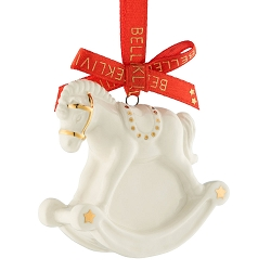 Belleek Living Rocking Horse Ornament in Tin