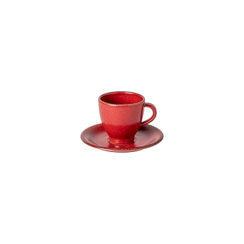 Positano Red Coffee Cup & Saucer Set/4