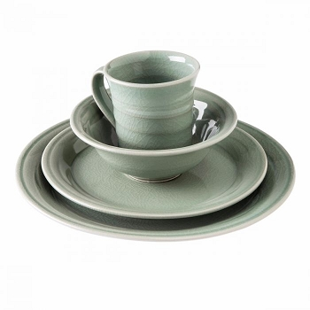 Simon Pearce Belmont Crackle Celedon Place Setting with Cereal Bowl