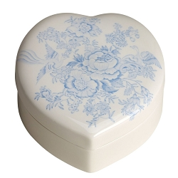 Blue Asiatic Pheasant Heart Trinket Box