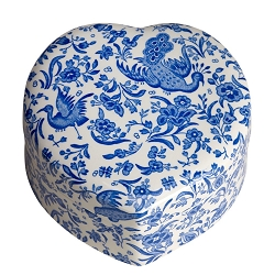 Blue Regal Peacock Heart Trinket Box