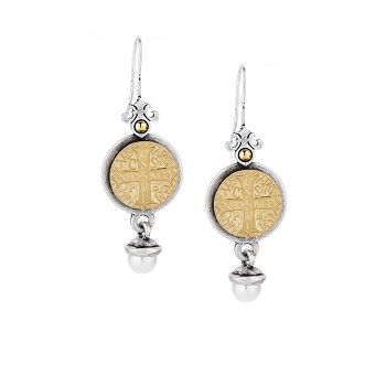 Earring with 14K Gold mini St Benedict Medallion and Pearl Dangle