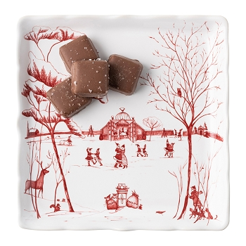 Country Estate Winter Frolic Mr. & Mrs. Claus Ruby Sweets Tray