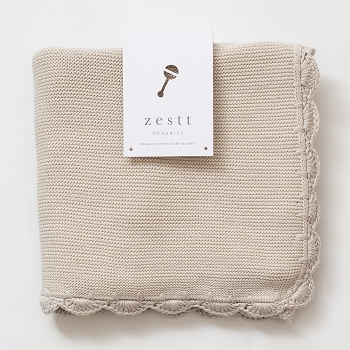 Organic Heirloom Baby Blanket-Mist