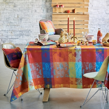 Mille Couronnes Jubile Tablecloth, 100% Cotton and Coated Cotton