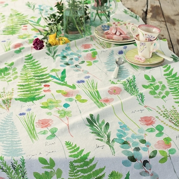 Mille Herbier Table Runner , Linen and Cotton - Available in June
