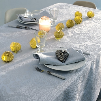 Mille Isaphire Angelite Tablecloth , 100% Cotton Coated and Uncoated