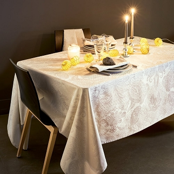 Mille Isaphire Parchemin Tablecloth , 100% Cotton Coated and Uncoated