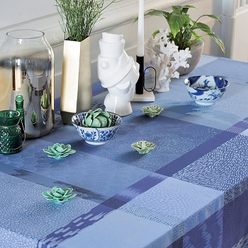 Mille Matieres Abysses Tablecloth , 100% Cotton Coated and Uncoated
