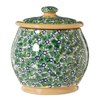 Green Lawn Small Rounded Lidded Jar