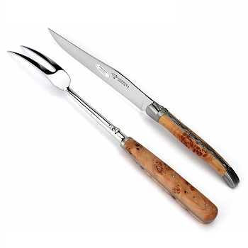 Laguiole en Aubrac Carving Set in Juniper- in stock