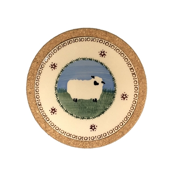 Landscape Small Round Trivet-Sheep
