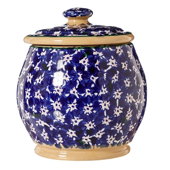 Lawn Dark Blue Small Rounded Lidded Jar