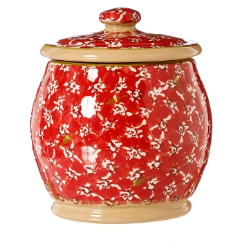 Red Lawn Small Rounded Lidded Jar