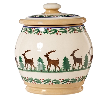 Reindeer Small Rounded Lidded Jar