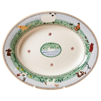 Landscape Mixed Animal Small Oval Serving Dish -2 available