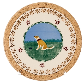 Landscape Small Round Trivet-Dog