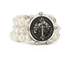 Triple Stranded Pearls and Metal Beads with Pineau Cross Stack Medallion  Bracelet